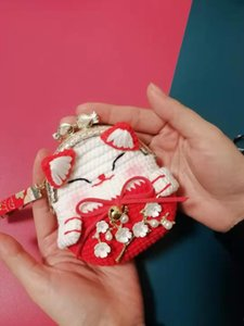 zBwIm DIY gifts for Diy wallet Gift wallet girlfriends girls and friends creative Japanese fortune cat small coin purse crochet knitting mat