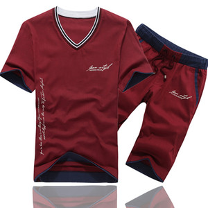 MANTLCONX мужские наборы Летняя мода Tshirt костюм Марка Лоскутная Tshirt + Шорты мужские Sportswear 2 шт наборы Костюм Tracksuit мужские
