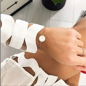 Fashion Adjustable ins CZ 26 Letter Bracelet for Women shell Zircon initial Bracelet Femme Snake Chain Jewelry Birthday Gifts
