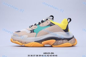 Xshfbcl High quality Mens and Womens Casual Shoes Triple S Silver Suede White Yellow Green Brand Designer Trainers 35-45