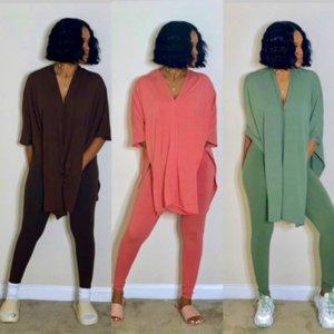 Summer Women Split Top Tees Tracksuit Short Sleeve T Shirt+ Leggings Pants Two-piece Clothing Sets Solid Color Club Party suits S-3XL D7804