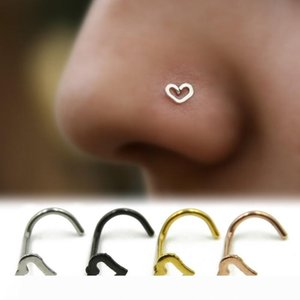 Rose Gold Silver Heart Nose Studs SHAPES Pins Rings Womens Jewellery Jewelry