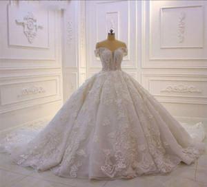 Lussuoso pizzo Puffy Abiti da sposa moderna fuori dalla spalla floreale arabo di Dubai principessa sfera abito da sposa sposa abiti de mariée