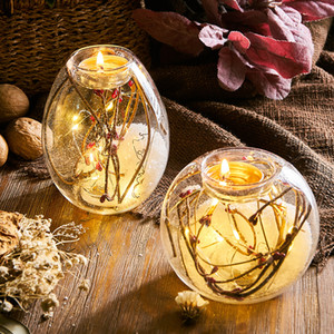 Romantic Dried Flower Glass Candle Holder LED Glow Candle Light Dinner Candlesticks Decoration Home Dining Table Decor