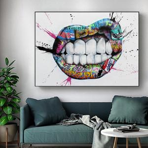 Göster Dişler Dudaklar Grafiti Sanatı Tuval Baskılar Sokak Öpücük Posterler Boyama ve Baskılar Wall Art Resim Salon Yatak Odası