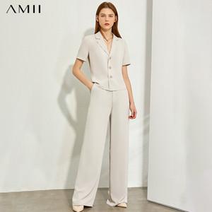 AMII Minimalismo Primavera Verano sólido camisa de solapa delgada Olstyle Caual de cintura alta pantalones sueltos 12070243