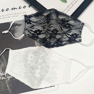 Dentelle masque à double couche perméable à l'air mince visage masque masque de l'oreille de antipoussière suspendu les femmes en plein air Masques Designer T2I51070-1