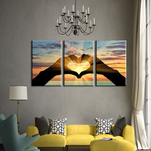 Modern Printing Type Popular 3 Panel Ocean Hearts Canvas Painting For Living Room Modular Picture Wall Art Home Decoration