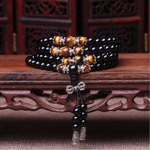 men's Fashion bracelet 108 Beads Natural Crystal Bracelet obsidian Beads Multi-layer Rosary Mala Bracelets Free Shipping