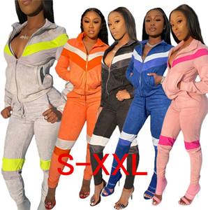 Femmes Survêtement Designer Hauts Zipper Coat Jacket + Pantalons Leggings 2 Pièces Tenues Couleur Patchwork sport Joggers D72812 Suit Casual