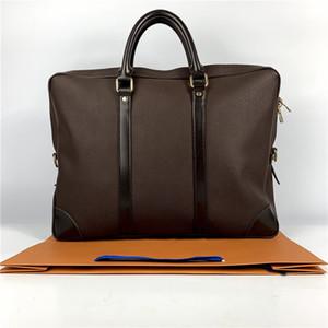 Высокого качество деловых сумок мужского дизайнер ручной вязки портфели натуральной кожа бизнес ноутбук сумка мужской Документ сумка