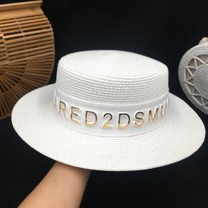 Fashion designer grass straw caps summer flat brim vintage elegant 3d letters adjustable hats for woman ladies sun proof