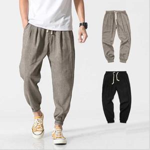 2020 neue große chinesische Art-Männer Flax beiläufige Hosen japanische dünne Laterne Hosen Herren-Baumwolle Harun