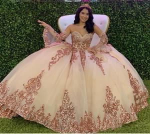 Rosa dell'oro Sparkly Quinceanera Prom Dresses 2020 moderna Sweetheart Applique del merletto Paillettes Tulle dell'abito di sfera d'epoca sera del partito di Sweet 16 Dress
