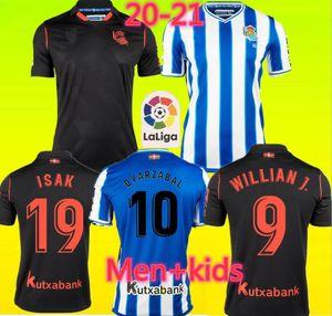 홈 (20 개) (21) 레알 소시에다드 축구 유니폼 떨어져 2020 2021 포투 메리노 OYARZABAL 윌리 J. 남자 아이 키트 camisetas 드 푸 웃볼 축구 셔츠