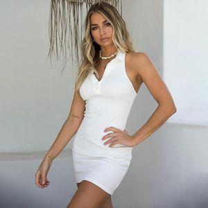 Halter Polo Dress Button V Neck Bodycon Dresses Skinny Summer Womens Dresses Sexy Backless