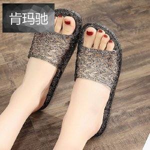 Fashion designer women ladies female crystal Indoor bathroom slippers summer non-slip flat outdoor sandals slippers shoes