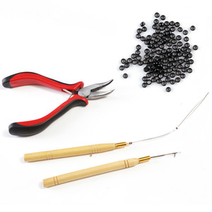 Hot Sell 4Pc Kit für Nano / Micro Ring Hair Extension: 1000 Nano-Ring-Korn 1pc Haken Nadel + 1pc Schleife Holz Puller 1pc Zangen