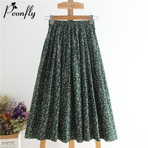 PEONFLY Vintage Floral Print Pleated Midi Skirts Women Elastic High Waist Mid Calf Skirts Summer 2020 Elegant Ladies