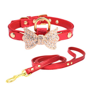 Cute Personalized Designer Dog Leather Pet Collars Plus Grooming Service Matching Collar Leash Harness Set Comb Puppy Harness