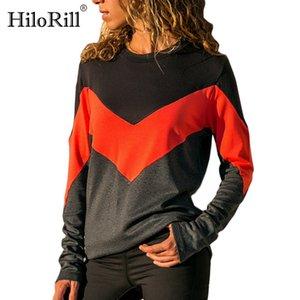HiloRill beiläufige Patchwork-Pullover Frauen 2020 Herbst Langarm-O Ansatz Sweatshirts Fashion Color Blockstreifen Street Tops