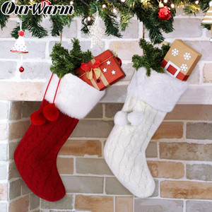 OurWarm Knitted Christmas Stocking with Plush Ball Christmas Gift Bag New Year Socks Xmas Tree Hanging Ornaments Home Decoration
