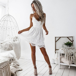 Summer Party Dress Sexy White Pink Deep V Neck Backless Lace Short Dress Women Casual Bandage Spaghetti Strap
