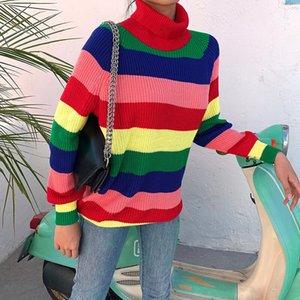 InstaHot Радуга свитер с длинным рукавом вокруг шеи Женщины Осень Зима Повседневный Сыпучие Перемычки Streetwear пуловер свитер 2019 Новая T200101