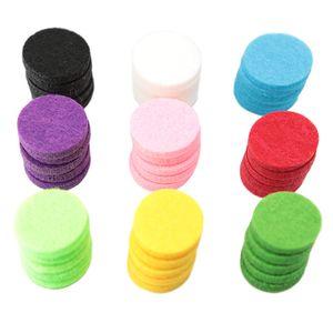 Redondos Óleos essenciais Pads 100pcs / lot Dia. Aromaterapia 22,5 milímetros Redonda Felt Pads Fit para 30MM óleo essencial difusor Locket