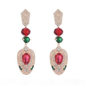 Розовое золото серьги для женщин Brand Design Luxury Цирконий Свадебные украшения Женская Змеи уха Коты горячее