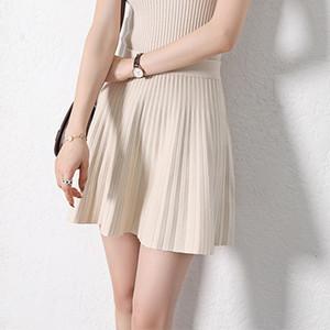Coréen plissés tricot femmes Mini jupe noire taille haute A-ligne Casual Jupes Femme 2020 Mode Automne en vrac Mesdames Bas