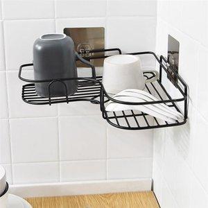 Toothbrush holder kitchen decoration Accessories Punch-Free Corner Bathroom Fixtures Wrought Iron Storage Rack 1PC T200507
