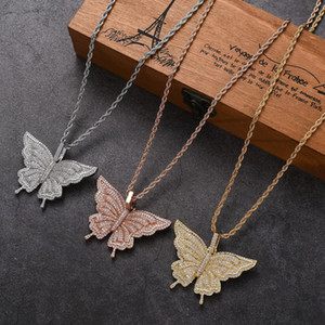 Hip Hop Rapper Cubic Zirconia Paved Bling Iced Out Butterfly Pendants Necklace for Women Men Charm Jewelry