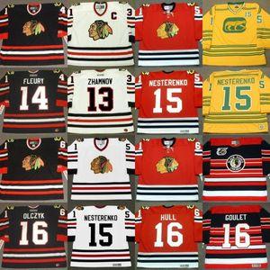 Chicago Blackhawks ALEX ZHAMNOV Theoren Fleury Eric Nesterenko Bobby Hull Chico Maki ED Olczyk DARCY ROTA Denis Savard Hockey Jersey