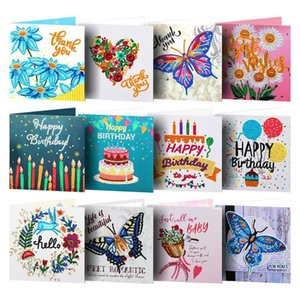 12pcs 5D DIY Diamond Painting Greeting Card Special Shape Diamond Embroidery Birthday Cards Postcards Gifts Cross Stitch Crafts