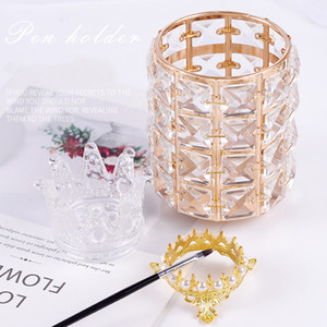 Crystal Crown Designs Nail Art Brush Holder Gold Silver Pen Display Stand Acrylic UV Gel Brush Rest Holders Metal Manicure Tools