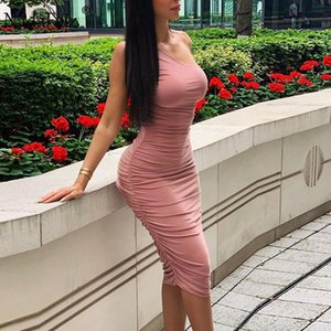 Nadafair Ruched Solid Midi Sexy Party Dress One Shoulder Draped Club Pink Black Red Bodycon Summer Dress Women