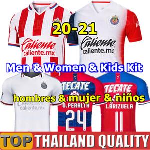 20 21 camisas de futebol Tailândia Chivas 2020 2021 Primera División de México Chivas Guadalajara Casa longe BRIZUELA 3ª camisa de futebol Homens Mulher Kids kit uniformes