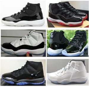 11s réel en fibre de carbone 25e anniversaire 11 chapeau et robe de bal de nuit Blackout Hommes Chaussures de basket Blue Legend Top qualité Chaussures de sport avec la boîte