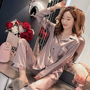 2019 New Gift Pajama Sets For Women Casual Long Sleeve nightgown Girls Cute Sleepwear Spring&autumn Luxurious home clothes Y200708