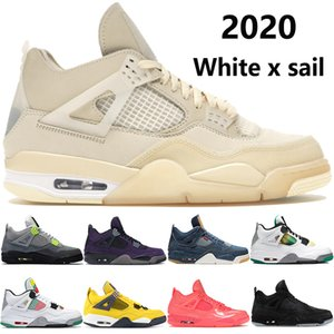 NOVO 4 branco x vela 4S tênis de basquete Jumpman SE Neon Travis scotts rasta roxo denim dos homens negros tênis US 7-13