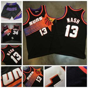 MitchellNess Vintage PhoenixnbaSunsGerileme Steve Nash 13 Charles 34 Barkley Mesh Nakış Dikişli Basketbol Formalar