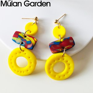 Color Circle Polymeric Clay Earrings for Women Cute Handmade Soft Clay Dangle Earrings Party Jewelry Accessories Supply Manufacturers
