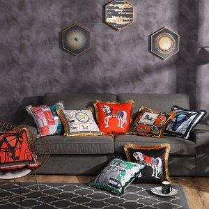 Startseite Velvet Doppelseitiger Druck Kissenbezug Kopfkissenbezug Startseite Dekorative Sofa Werfen Kissen Wohnzimmer Stuhl-Sitz 45 * 45cm