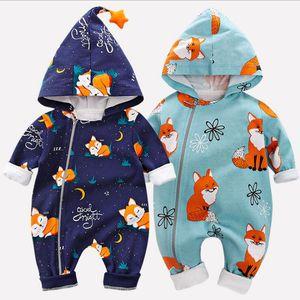 Newborn Boys and Girls Cartoon Autumn Spring Baby Cotton Clothes Hooded Long Sleeve Zipper Jumpsuit Kids Overalls