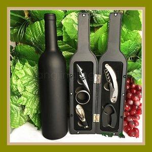 5pcs / set abridor de garrafas Vinho Tinto Corkscrew High Grade Vinhos Acessório com forma de garrafa caixa de presentes bisiness DHB654 favor do presente