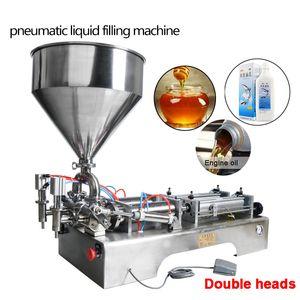 Jefes de envío libre de dobles de llenado de la tolva neumática Máquina automática Champú Crema Humectante Loción miel alimenticios pastosos 10-300ml