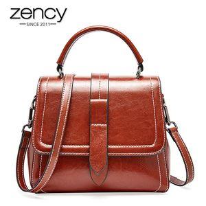 Zency Retro Brown femmes Sac fourre-tout 100% cuir véritable quotidien Casual Panier Sac à bandoulière Messenger de luxe Rouge foncé Noir