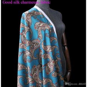 Width 108cm Good Stretch Charmeus Silk Fabric Blue Paisley Digital Printing Silk Fabric Sewing Material Diy Dress Cheongsam