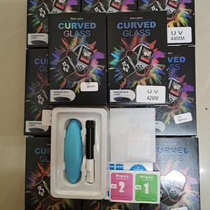3D-UV-Glas Nano Flüssigkeit für Apple-Uhr 38mm 42mm 40mm 44mm Schirm-Schutz für Uhr-5 4 3 2 1 Serie Voll Klebern gehärtetes Glas